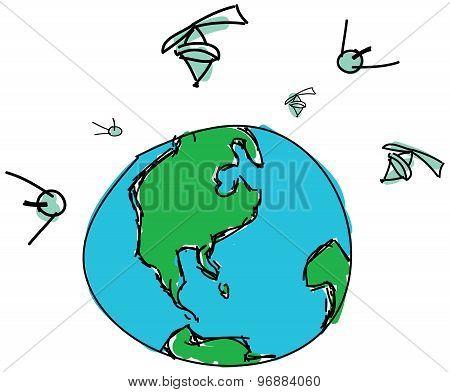 Drawn planet with satellites