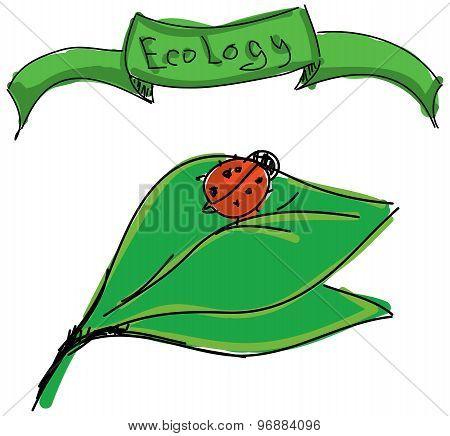 Drawn ladybird on leaf