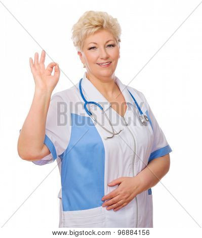 Mature doctor shows ok gesture isolated
