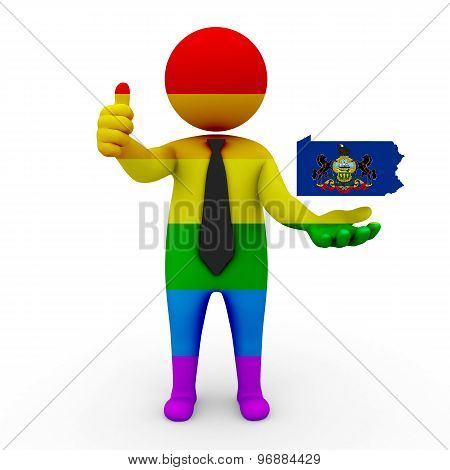 3d businessman people LGBT - with a map of the flag of Pennsylvania