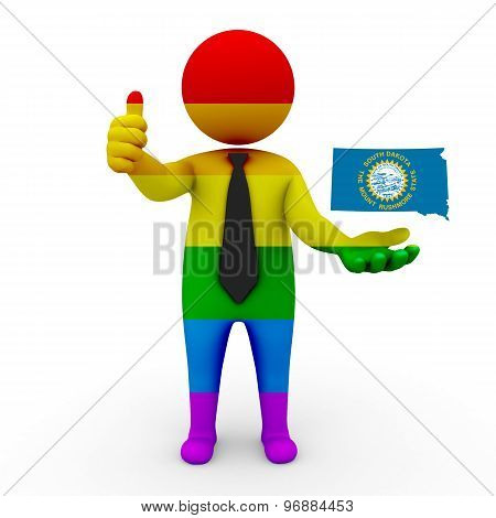 3d businessman people LGBT - with a map of the flag of South Dakota