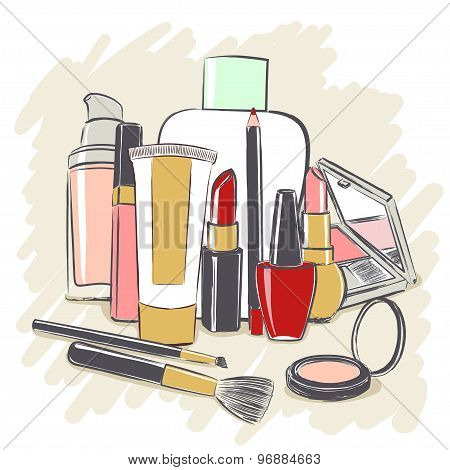 Set Of Cosmetics Products For Makeup