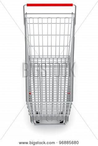 Top view of shopping cart on white