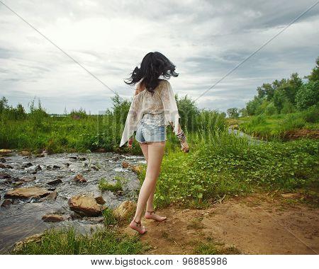 Boho Girl Went Off Along The River Bank.