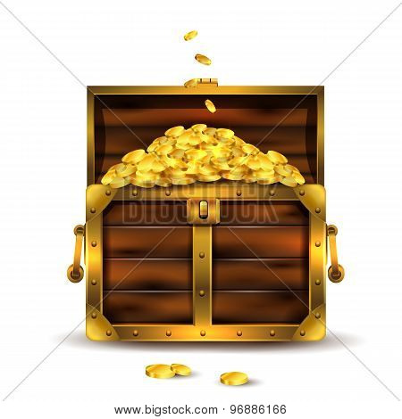 Vintage wooden chest opened with golden coins.