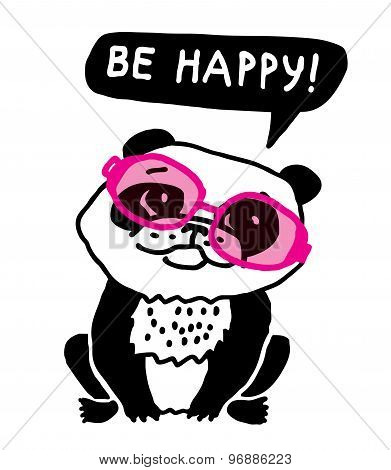 Ecology panda in pink glasses be happy