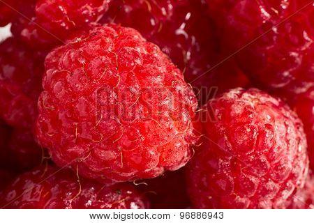 Ripe raspberries close up