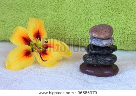 Spa therapy. Hot stones massage set up