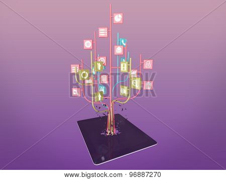 Social Media Icons Set In Tree Shape On Modern Black Tablet Pc