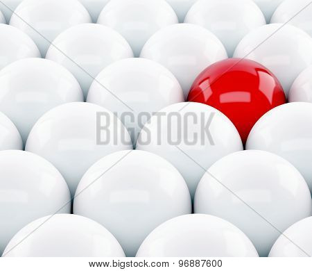 3D Red Ball Stand Out Of A Crowd