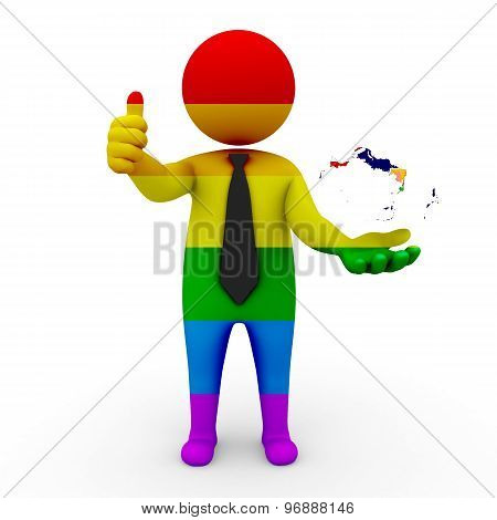 3d businessman people LGBT - with a map of the flag of Turks and Caicos Islands