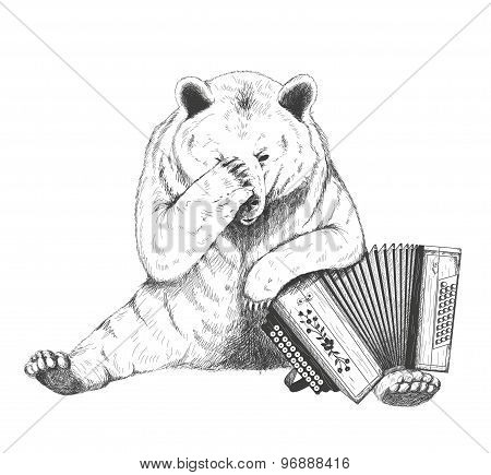 Sad bear sits with an accordion. Sketch