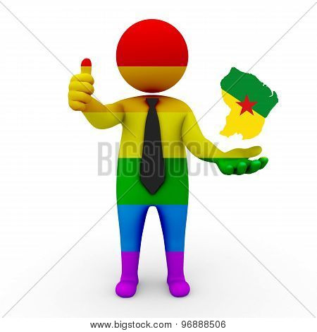3d businessman people LGBT - with a map of the flag of French Guiana