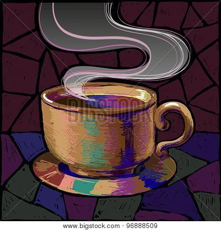 Mug of coffee or tea in saturated colors. handmade