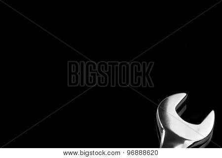 Single Fork Wrench Isolated On Black Background