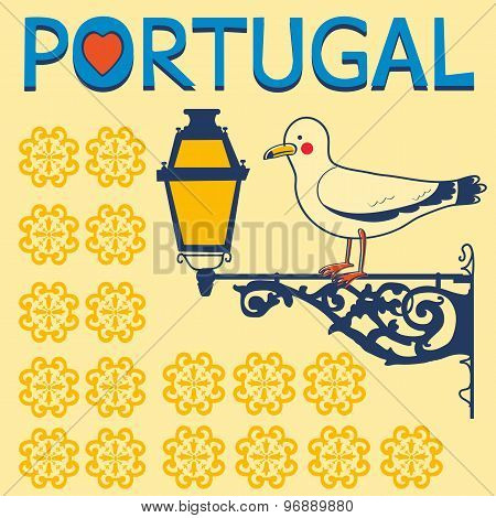 Concept card with tipical portuguese lantern and  seagull