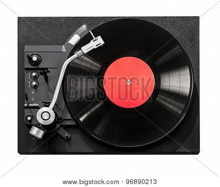 Top View Of Old Fashioned Turntable Playing
