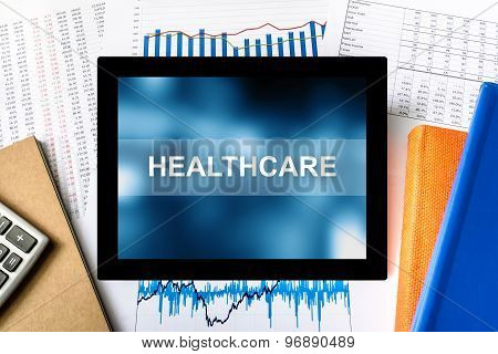 Healthcare Word On Tablet
