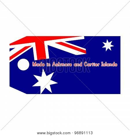 Ashmore And Cartier Islands Flag On Price Tag With Word Made In Ashmore And Cartier Islands Isolated