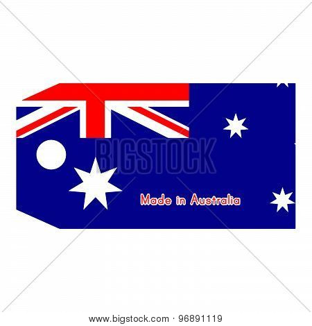 Australia Flag On Price Tag With Word Made In Australia Isolated On White Background.