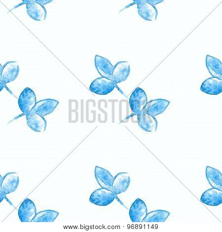 Watercolor blue flower silhouette closeup isolated on white background. Art logo design. Russian sty