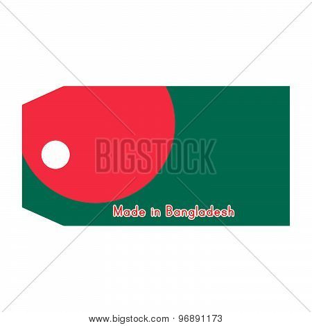 Bangladesh Flag On Price Tag With Word Made In Bangladesh Isolated On White Background.