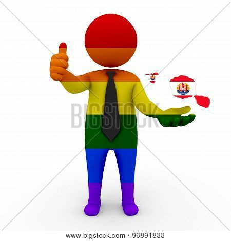 3d businessman people LGBT - with a map of the flag of French Polynesia