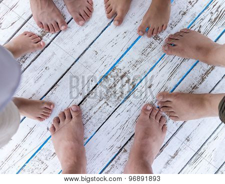 White wood texture with group feet copy space background