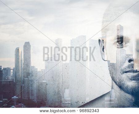 Double exposure  black and white portrait  man