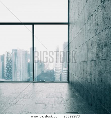Big windows and cocrete wall. 3d render