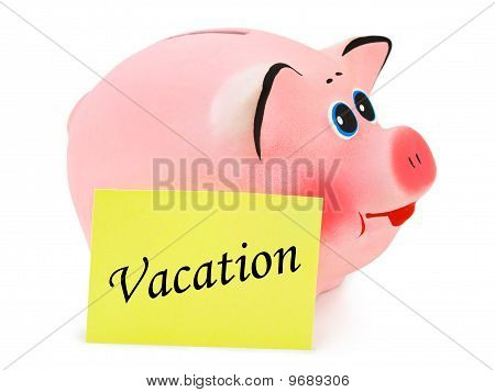 Piggy Bank And Paper Vacation