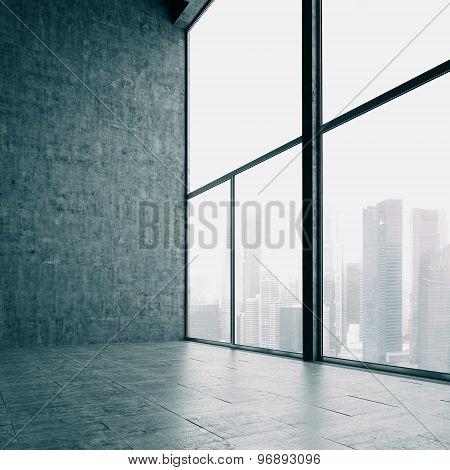 Loft windows and the city. 3d render