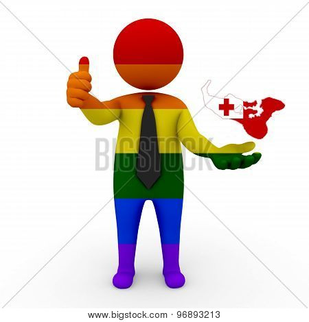 3d businessman people LGBT - with a map of the flag of Tonga