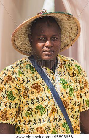 African Man Posing At Expo 2015 In Milan, Italy
