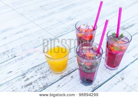 Drink on white wood summer backgrounds