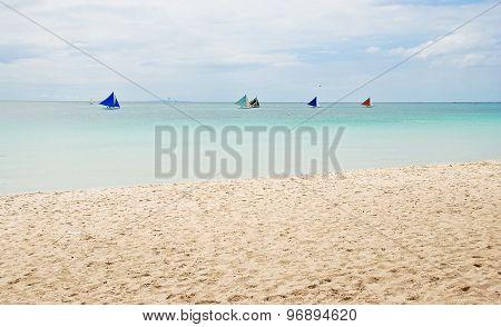 Colorful sailboats on the sea