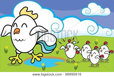 Funny cartoon chicken with chickens walking on ecologically clean grass at the farm