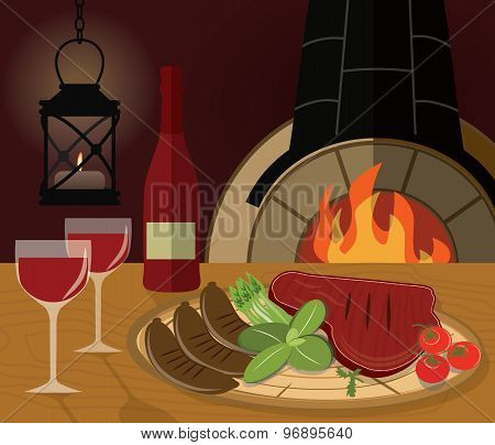 Romantic dinner with a grilled steak, vegetables and wine at the restaurant