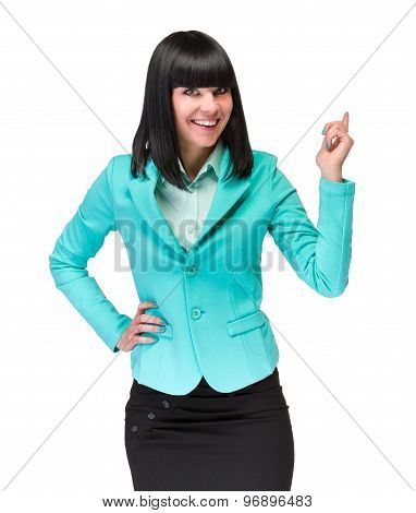 Portrait of happy young business woman with holding gesture