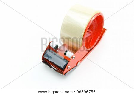 Packing Tape Dispenser And Adhesive Tape On White Background