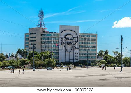 HAVANA, CUBA - CIRCA JULY 2015: Building with the image of Fidel Castro at La Plaza de la Revolucion, in Havana, Cuba.