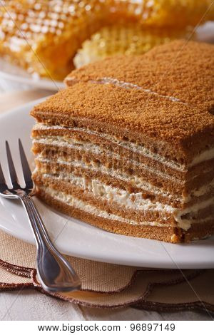 Honey Cake Macro On A Plate On Background Honeycomb. Vertical