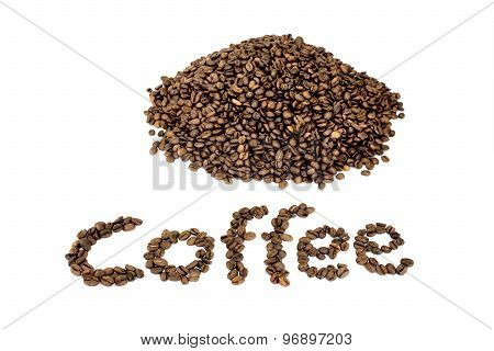 Word Coffee With Heap Of Coffee Beans