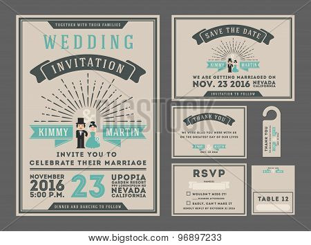 Classic vintage sunburst wedding invitation design with couple cartoon.