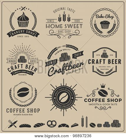 Sets of bake shop, craft beer, coffee shop logo