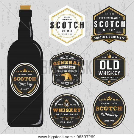 Vintage Premium Whiskey Brands Label Design Template