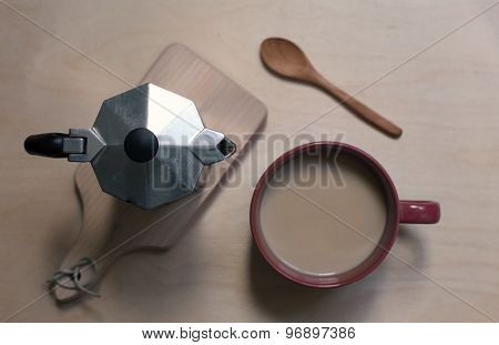 Coffer Maker, Cup Og Coffee On The Wooden Background