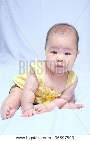 Asian Baby Girl In Traditional Thai Dress