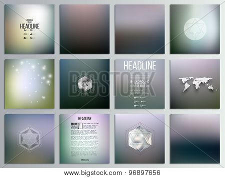 Set of 12 creative cards, square brochure template design, natural backgrounds set, abstract blurred