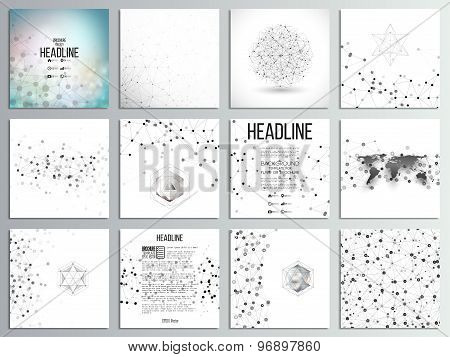 Set of 12 creative cards, square brochure template design. Molecular structure, gray backgrounds for
